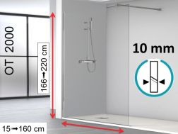 Shower screen, 100 x 195 cm, 1 fixed glass panel 10 mm - OT2000.