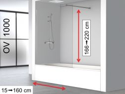 Fixed bathtub screen 70 x 150 cm to measure - OV1000