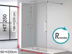 Open shower enclosure, 200 x 195 cm, fixed glass with sliding door - HIT250