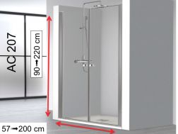 Double swing shower doors 66,5-70,5 x 195 cm, custom-made - AC 207