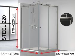 Corner shower cabin, 70 x 70 x 195 cm, two fixed with two sliding, custom - Steel 220