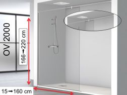 Fixed shower screen 130 x 195 cm, with stabilizer bar from wall to wall - OV2000 (MM)