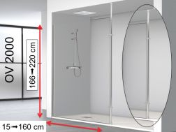Fixed shower screen 100 x 195 cm, stabilizer bar floor / ceiling - OV2000 (SP)