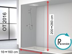 Shower wall, 140 x 250 cm, fixed panel all the way from floor to ceiling, in niche - OT2016.