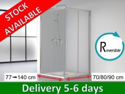 Corner shower cabin, 140 x 80 / 70 x 195 cm, two sliding panels and two fixed panels - SUM 320