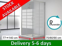 Corner shower cabin,  140 x 70 / 80 x 195 cm, two sliding panels and two fixed panels - SUM 320 Bold