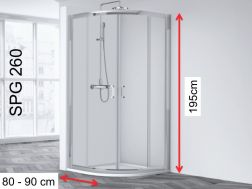 Corner shower cabin, 80 x 80 x 195 cm, two sliding panels and two fixed panels - Sring 260