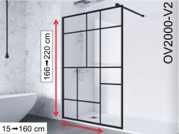 Fixed shower wall in industrial Art Deco style, 100 / 120 / 140 x 195- OV2000 IMAGIK Vendome 2
