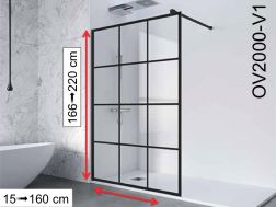 Fixed shower wall in industrial Art Deco style, 100 / 120 / 140 x 195- OV2000 IMAGIK Vendome 1