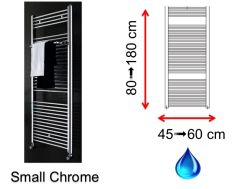 Hydraulic towel dryer, in central heating, small and large size - Small Chrome SCIROCCO