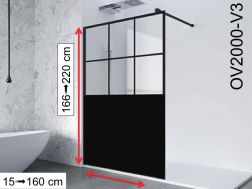 Fixed shower wall in industrial Art Deco style, 130 x 195 - OV2000 IMAGIK Vendome 3