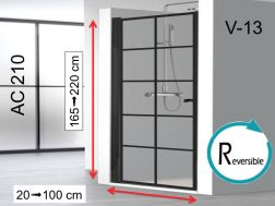 Swing shower door 100 x 195 cm, industrial style art deco - AC210 imagik V13