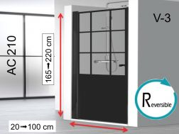 Swing shower door 100 x 195 cm, industrial style art deco - AC210 imagik V3