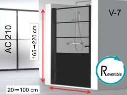 Swing shower door 100 x 195 cm, industrial style art deco - AC210 imagik V7