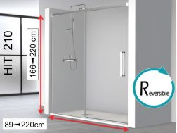 Open shower enclosure, 100 x 195 cm, fixed glass with sliding door - HIT210