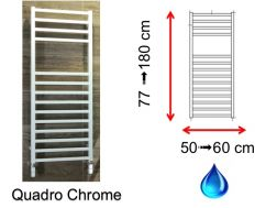 Hydraulic towel dryer, hot water central heating, small size and large size - Quadro Chrome SCIROCCO