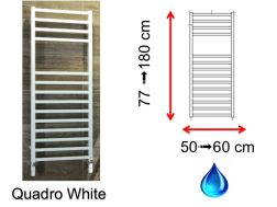 Hydraulic towel dryer, hot water central heating, small size and large size - Quadro White SCIROCCO