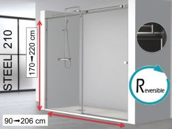 Niche shower door, 100 x 195 cm, fixed glass with sliding door - STEEL 210