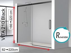 Niche shower door, 125 x 195 cm, fixed glass with sliding door, with black profile - VITA 210 Black
