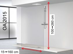 Shower wall, 100 x 250 cm, 1 fixed panel over the entire height from floor to ceiling - OA2015.