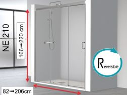 Sliding shower door 100x195, two sliding panels on one fixed - NE210