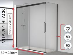 Corner shower cabin, 180 x 195 cm, fixed glass with sliding door and one fixed side, with black profile - VITA 201 Black