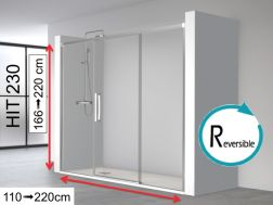 Shower door 3 panels, 140 x 195 cm, a central sliding door with two fixed ends - HIT230