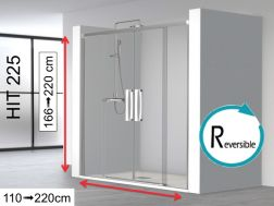 Shower panel 4 panels, 140 x 195 cm, two central sliding doors with two fixed ends - HIT225