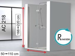 Shower door folding 70 cm, fixing right, height 166-220 cm, AC218.