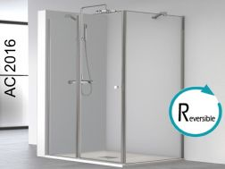Swing shower door, in fixed glass extension and fixed side panel - 120 x 80 x 195 cm - AC216