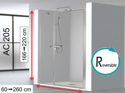 Shower screen 120x195, swing door on wall with fixed front - AC205