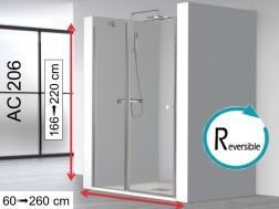 Shower screen 120x195, swing door on glass with fixed front - AC206