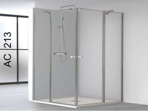 Swing shower doors, opening in angle with two fixed panels - 90 x 90 x 195 - AC213