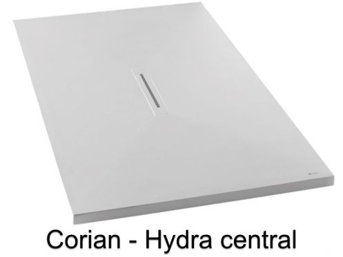 Corian shower tray, solid Surface mineral resin, central drain - HYDRA CENTRAL