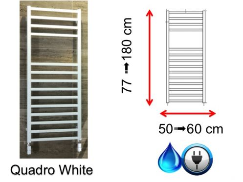 Mixed towel dryer, small and large - Quadro White SCIROCCO
