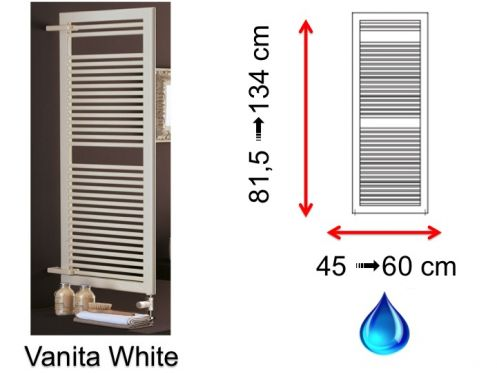 Hydraulic towel dryer, hot water central heating, small size and large size - Vanita White SCIROCCO