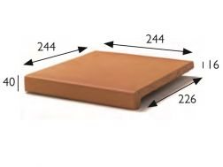 25x25 Natural stair nosing, pool coping, stretched stoneware tile - Gres Aragon