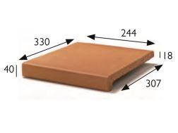 25 x 33 Natural stair nosing, pool coping, stretched stoneware tile - Gres Aragon