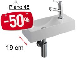 - 50 __percent__ => Hand wash basin, narrow design washbasin, white mineral resin, depth 19 cm, right hand tap - PLANO 45 Benesan