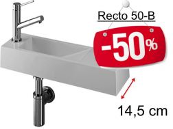 - 50 __percent__ => Cloakroom basin design, white mineral resin, extra fine, depth 15 cm, tap left - RECTO 50 B Benesan