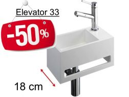 - 50 __percent__ => Compact cloakroom 18 cm, matt-white Solid Surface, towel integrated front, fitting right, Elevator 33 Benesan