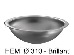 Round washbasin Ø 310, polished stainless steel, to be recessed from above or below - HEMI