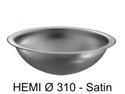 Round washbasin, polished satin stainless steel, to be recessed from above or below - HEMI � 310