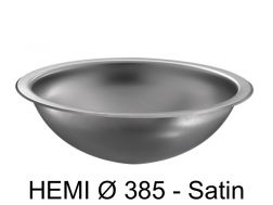 Round washbasin, polished satin stainless steel, to be recessed from above or below - HEMI � 385