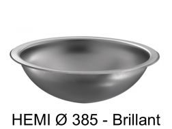 Round washbasin, polished stainless steel, recessed from above or below - HEMI � 385