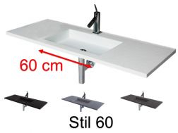 Washbasin top with integrated design washbasin 50 x 120 cm, suspended or recessed, in Solid Surface Resin - STIL 60