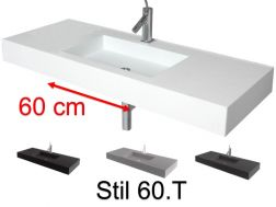 Washbasin countertop with built-in design washbasin 50 x 120 cm, hanging or standing, in resin solid surface to measure - STIL 60.T