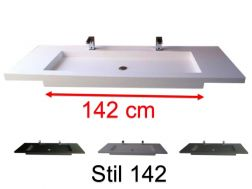 Washbasin countertop with integrated double washbasin 50 x 150 cm, suspended or recessed, made of solid solid surface resin - stil 142