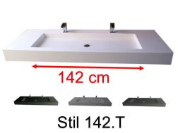 Washbasin top with integrated double basins 50 x 150 cm, hanging or standing, made of solid resin surface - STIL 142.T