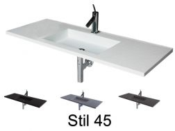 Washbasin top with integrated design washbasin 50 x 160 cm, suspended or recessed, in Solid Surface Resin - STIL 45
